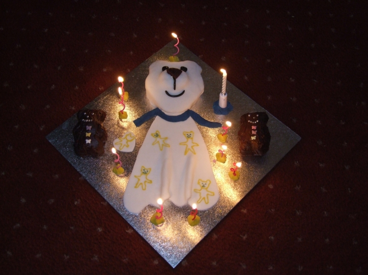Holly's birthday cake this year was a homemade, edible (obviously!) version of her beloved Bear Bear, whom she's had for 9.5 years. He goes everywhere with her and we're not allowed to eat this version of him!