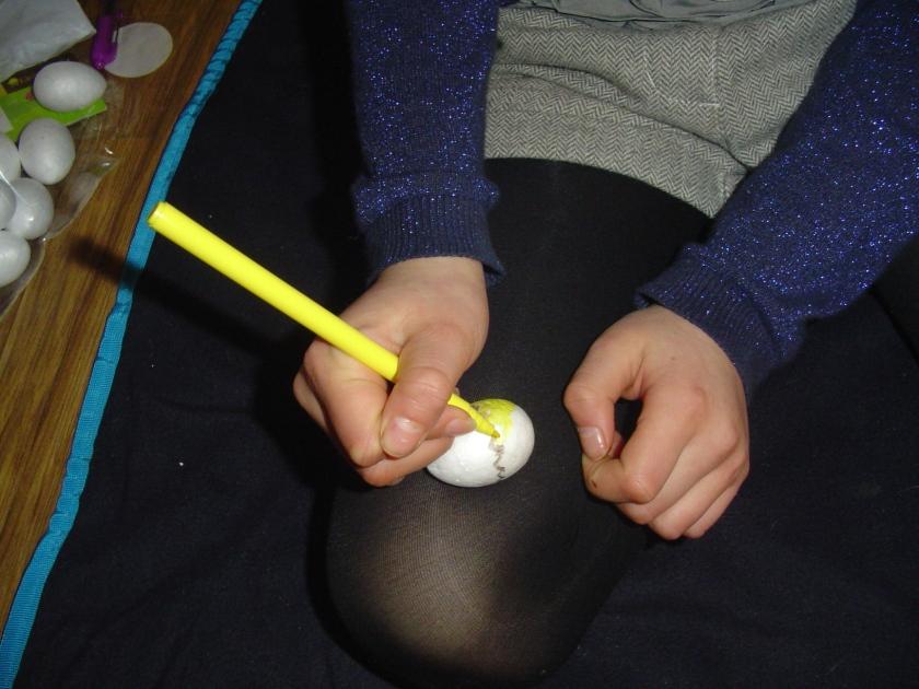 Decorating Styrofoam eggs!